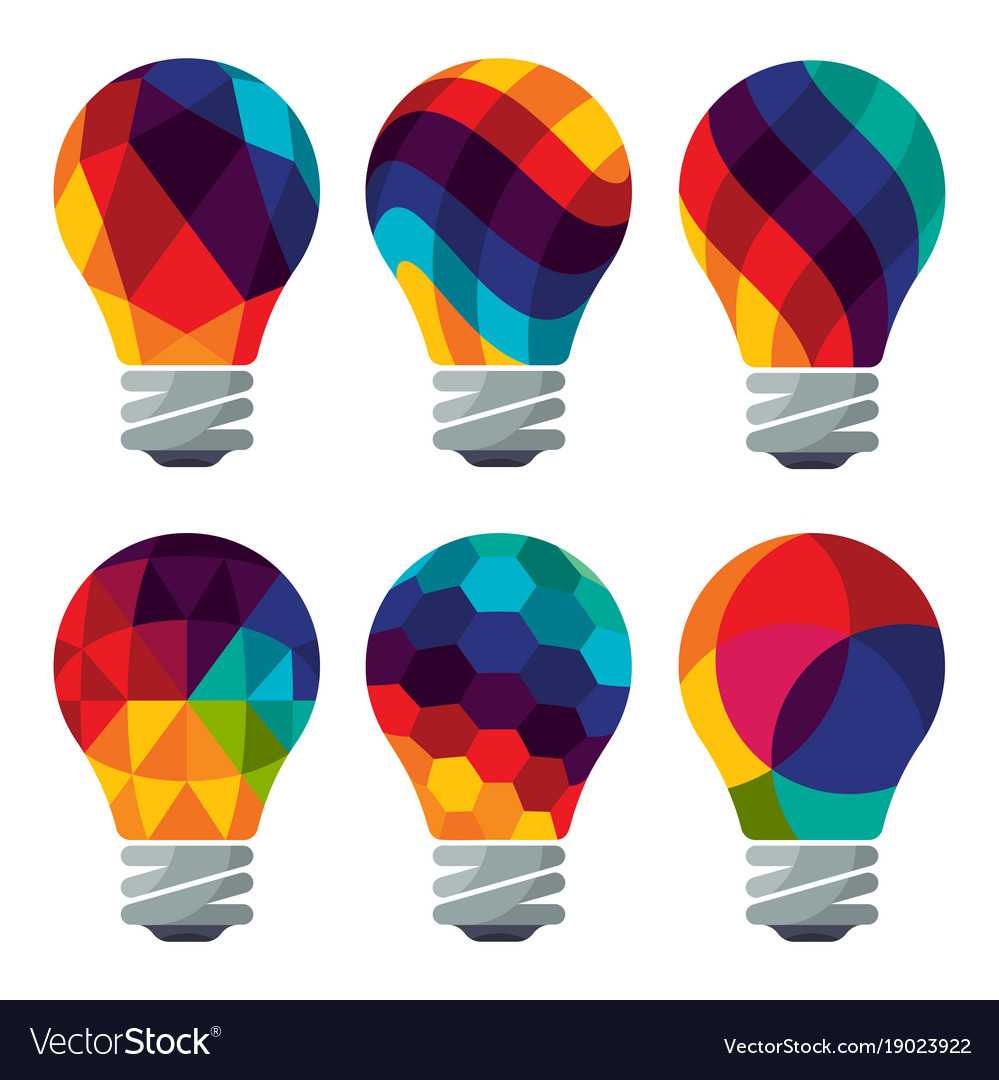 Set of colorful bulb icons
