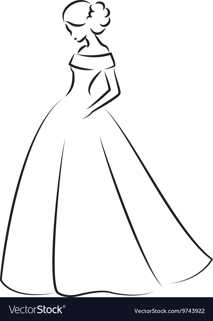 Sketch of an elegant bride in white wedding dress