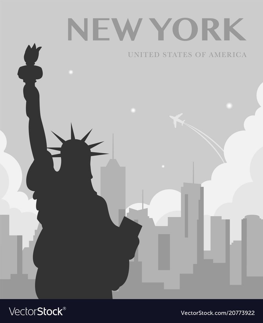 Statue of liberty new york landmark and symbol of vector image