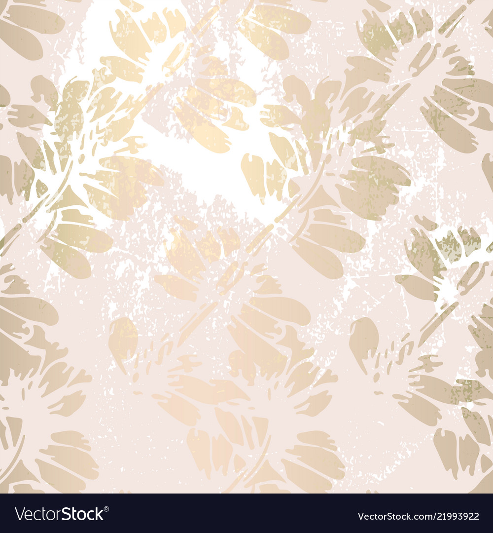 Trendy Floral Gold Foil Patina Blush Background Vector Image
