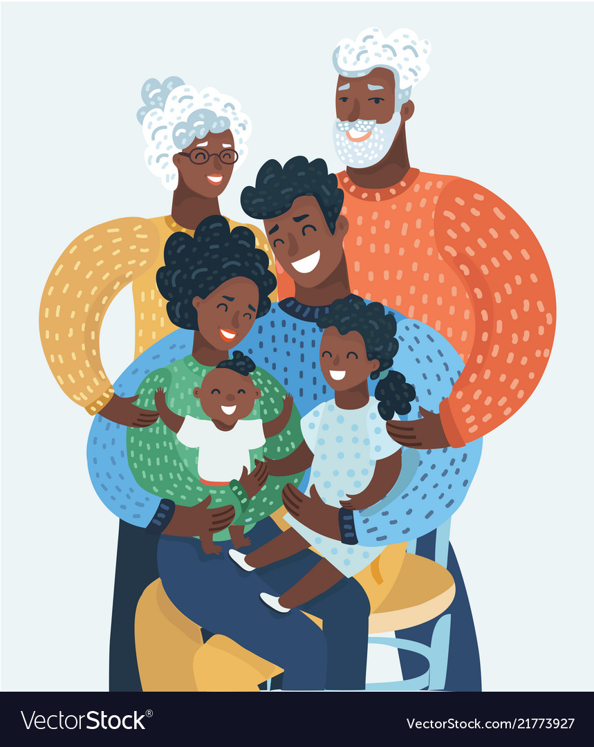 Afro american or black happy cartoon family