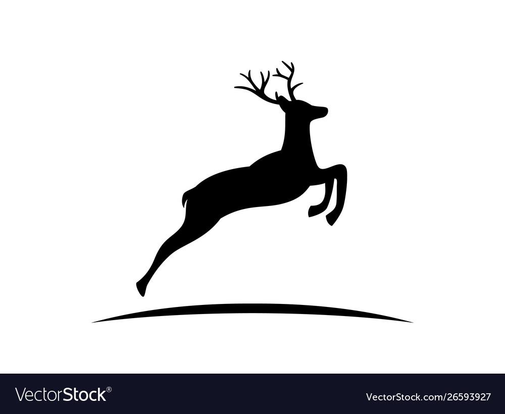 Black silhouette reindeer with antlers