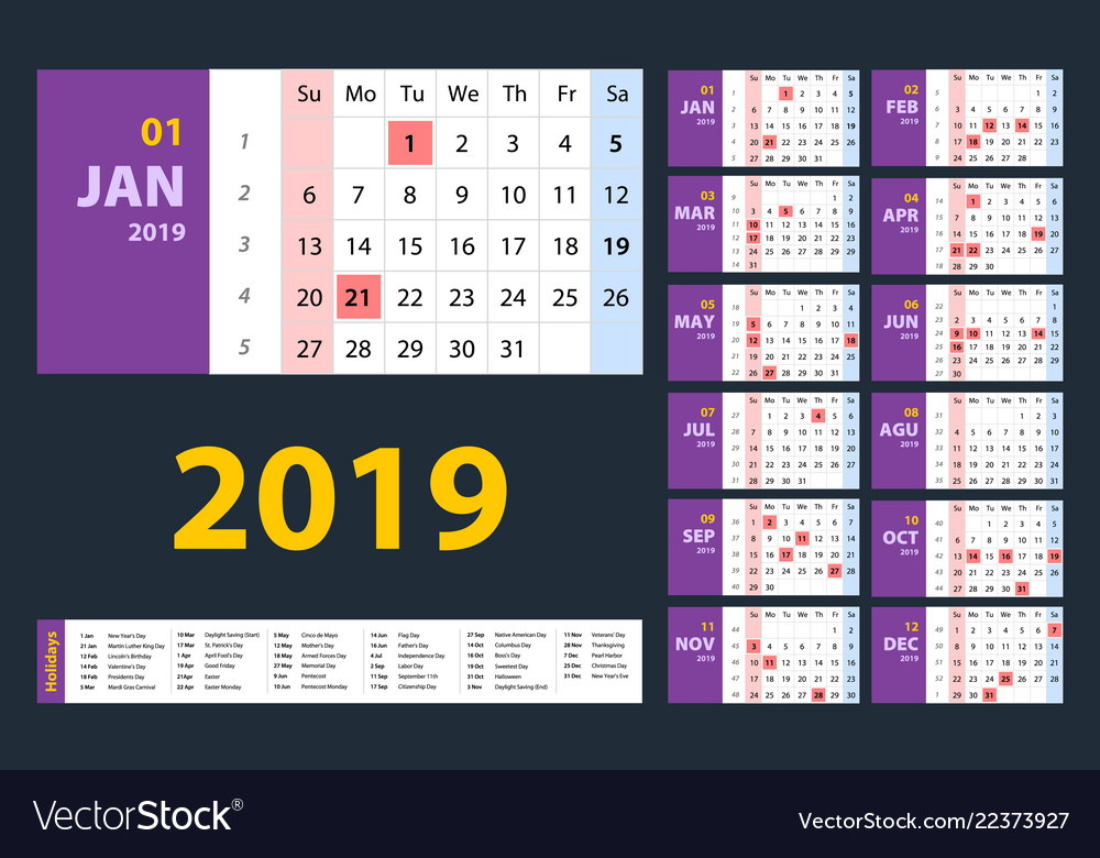 Calendar 2019 purple set week starts on sunday