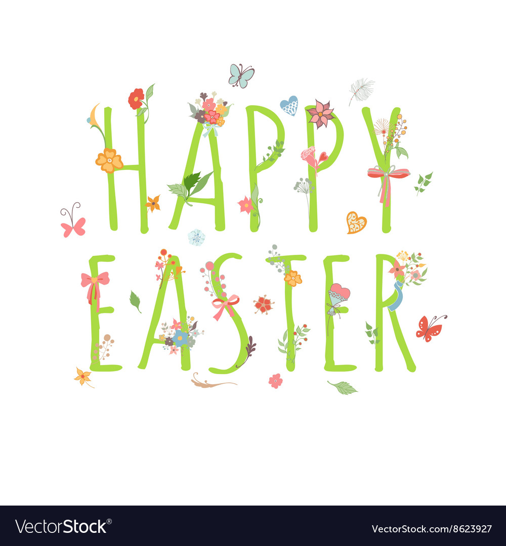 Colorful Happy Easter Greeting Card with flowers