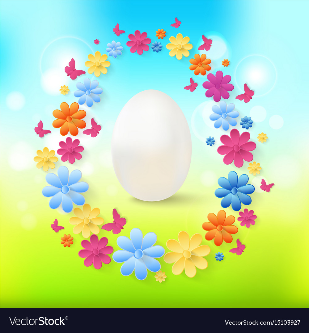 Easter eggs with colorful flowers butterflies on