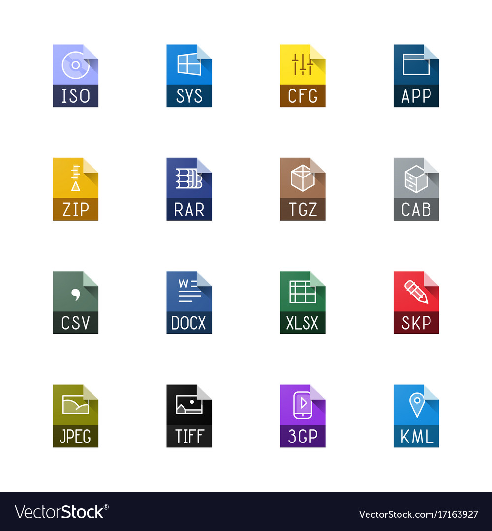 file type icons miscellaneous royalty free vector image