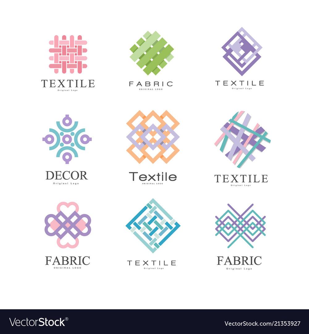 Flat set of original logos for fabric or