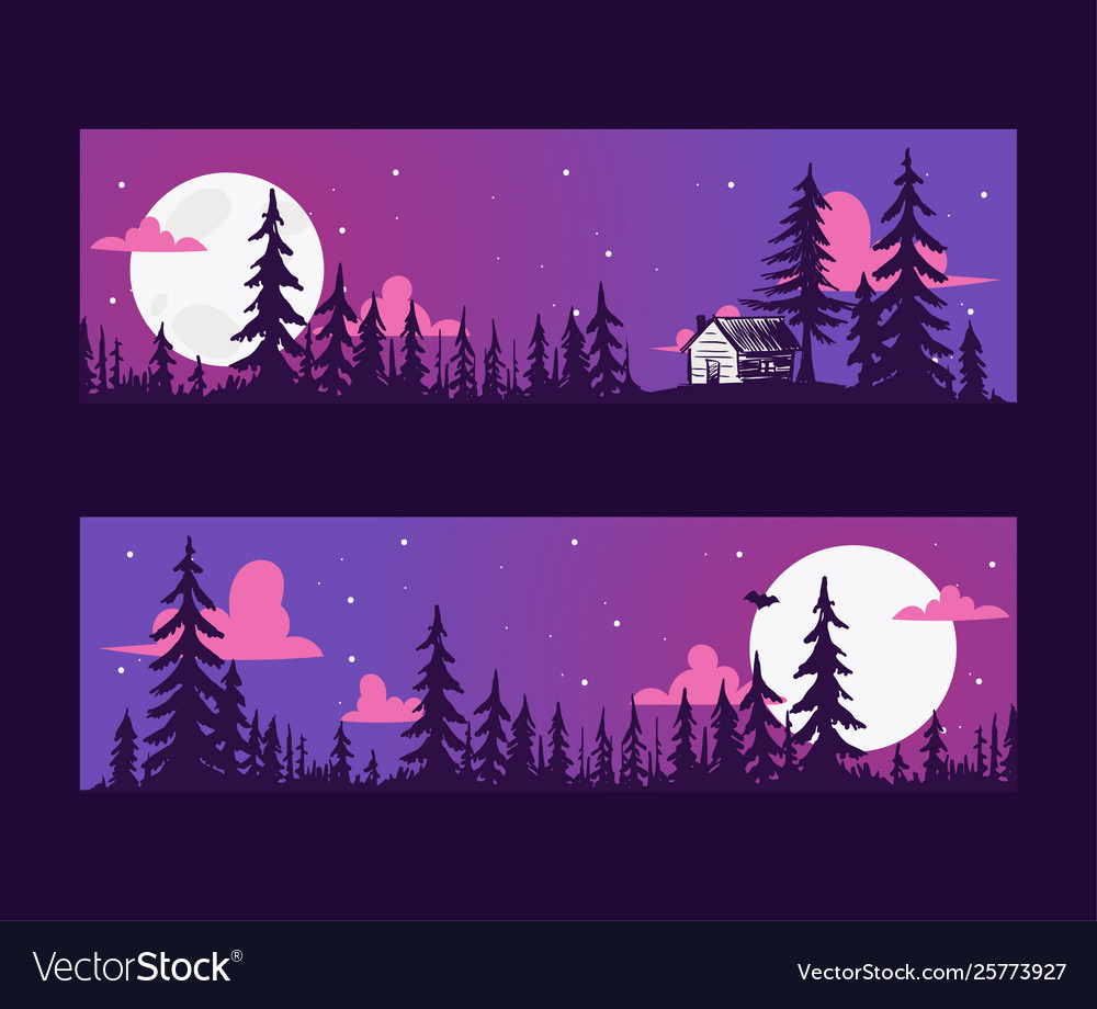 Forest pine tree banner with night scene