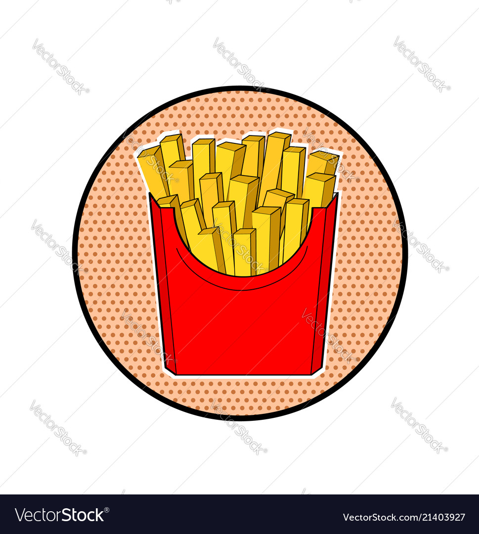 French fries in red paper box pop art fast food