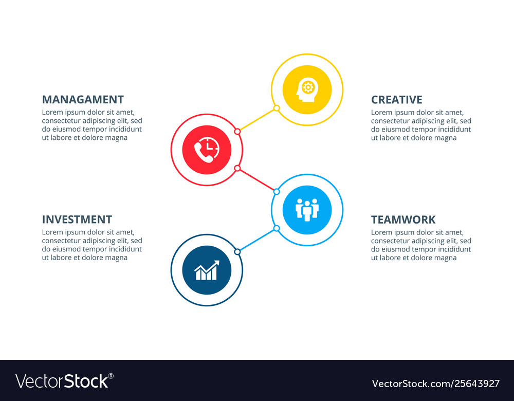 Infographic with 4 circle elements can be used for