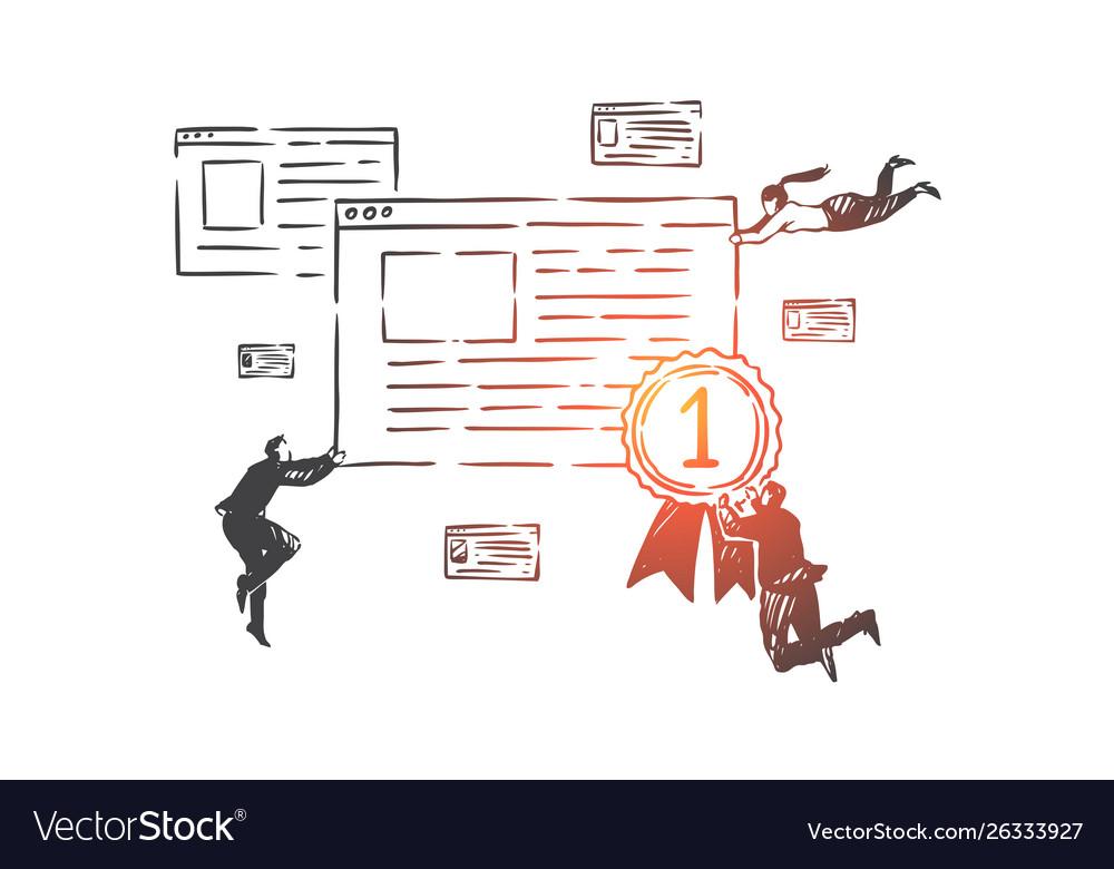 Search engine optimization seo concept sketch