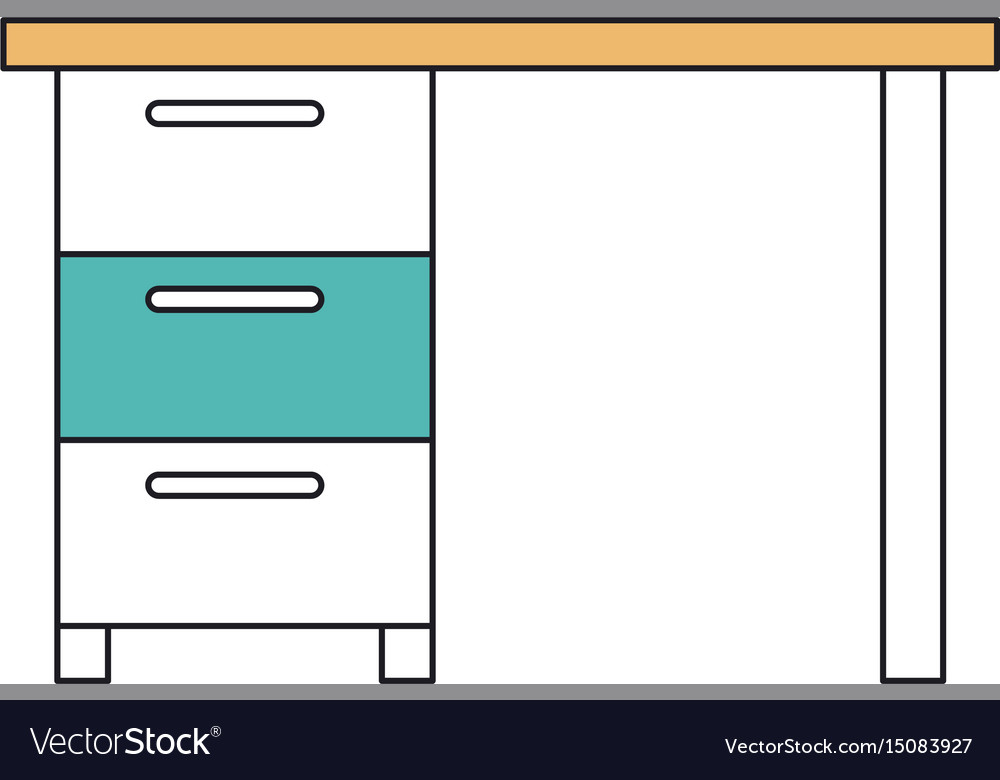 Silhouette color sections of wooden office desk