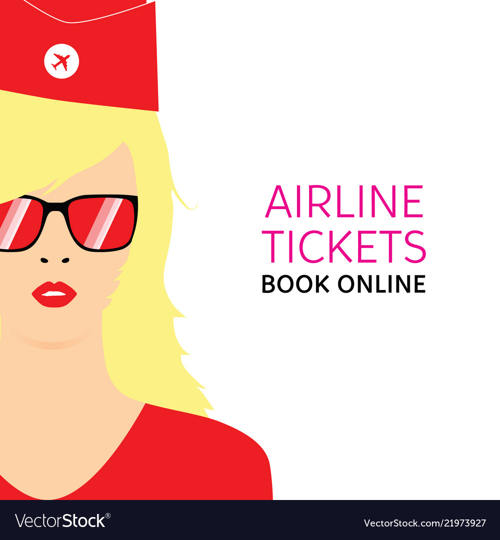 Stewardess blonde in red uniforms with booking