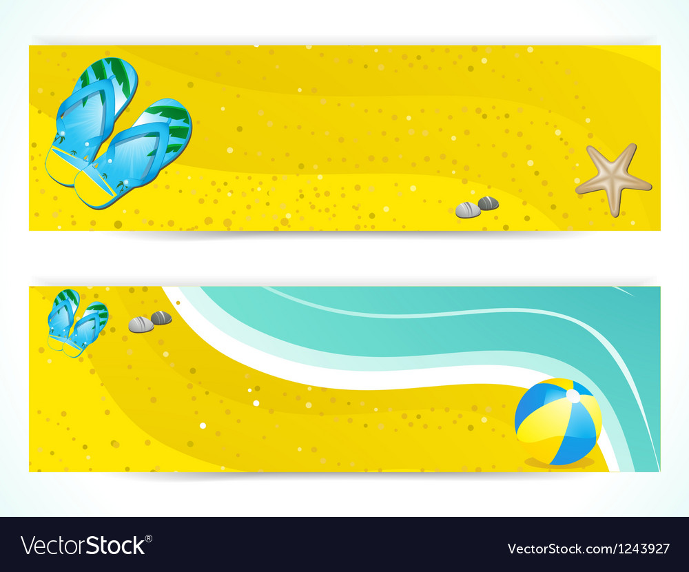 ae15f27c8ef6 Summer beach and flip flop banners Royalty Free Vector Image