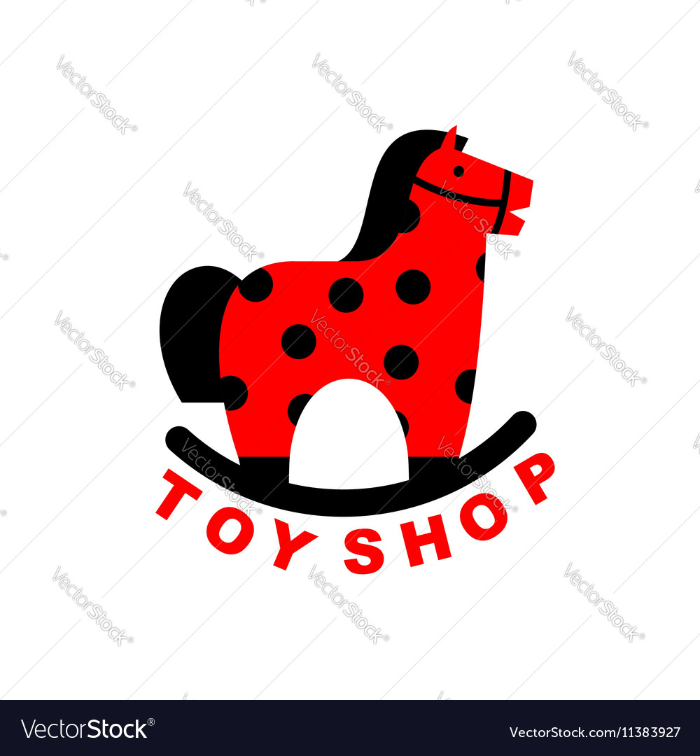 Toy Shop logo rocking horse Kids toy horse apples vector image