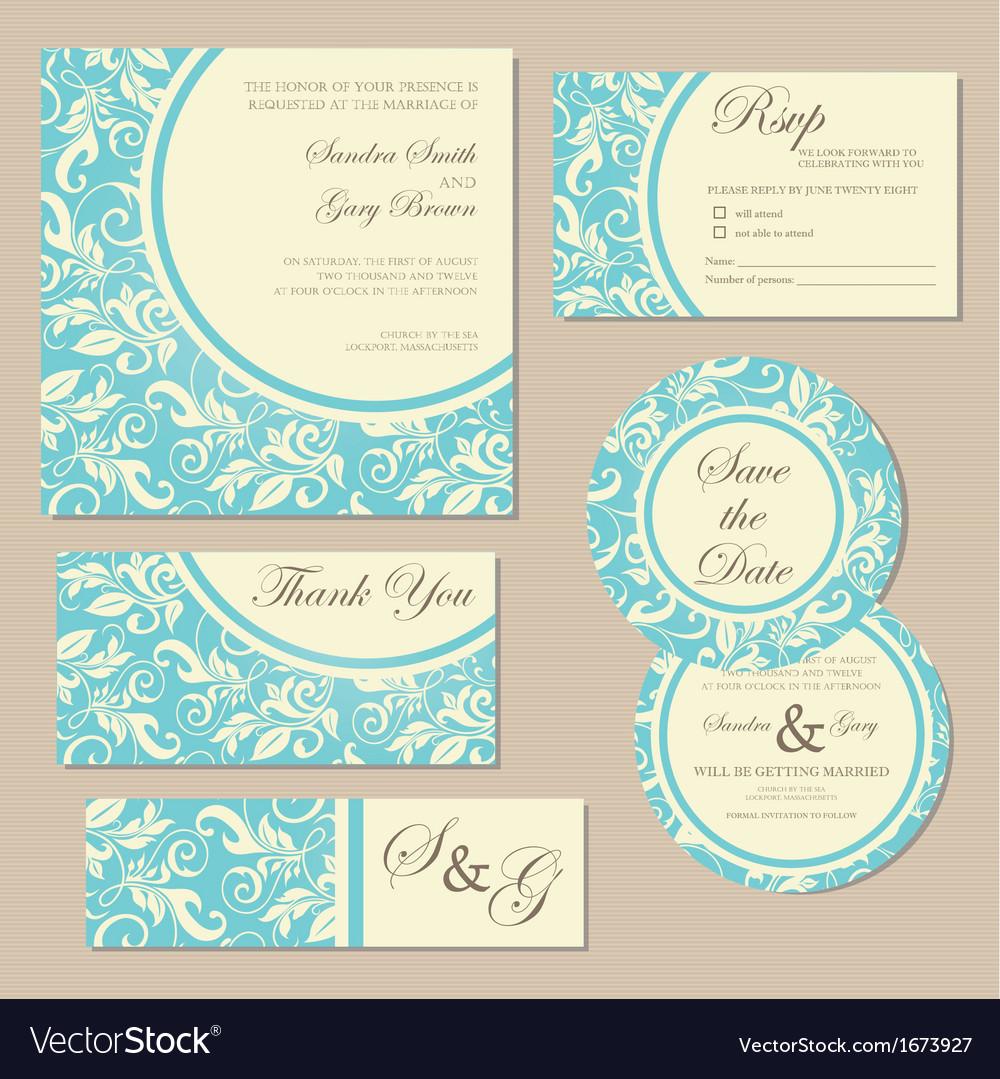 Wedding invitation blue set Royalty Free Vector Image