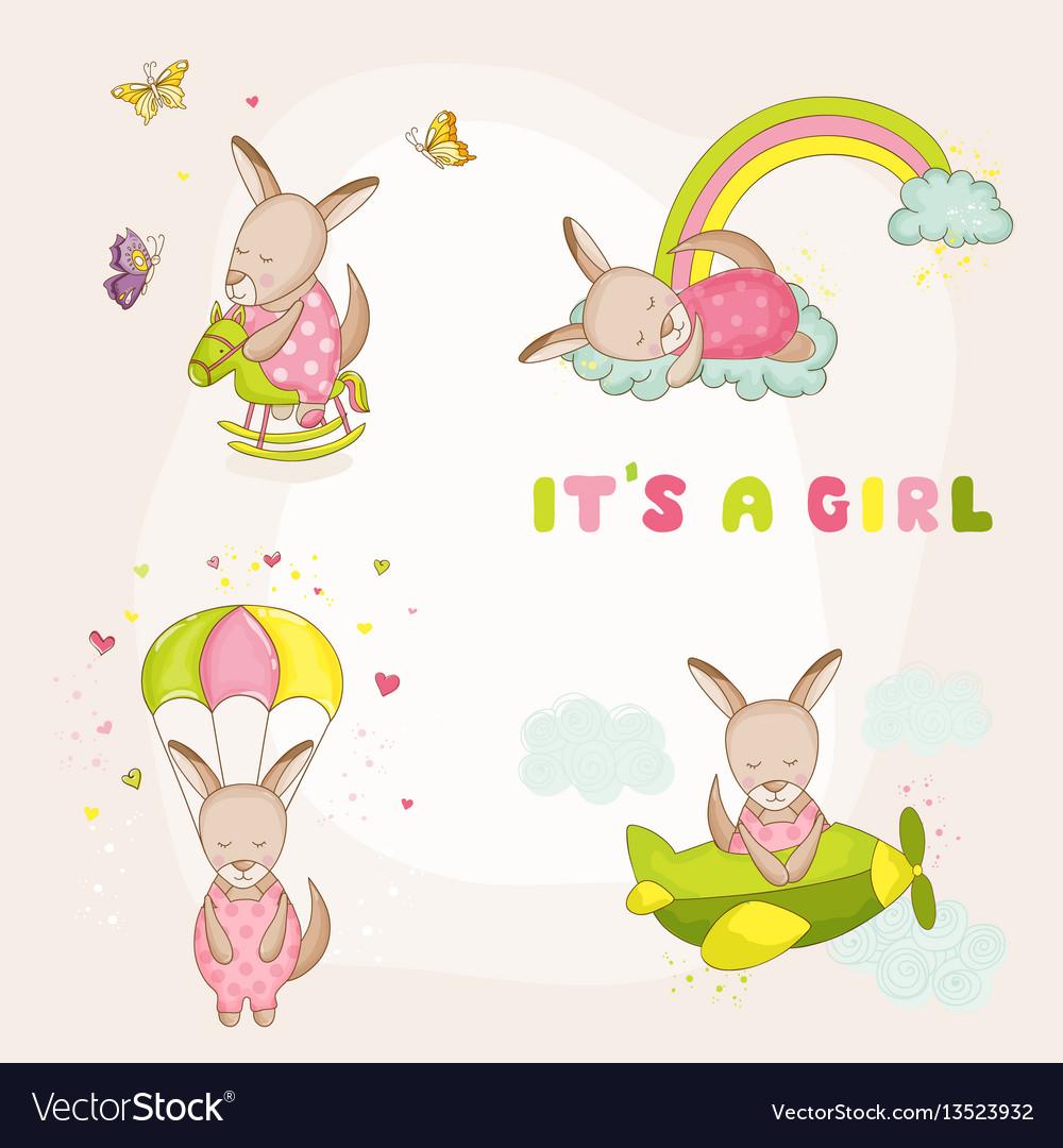 Baby girl kangaroo set - baby shower card