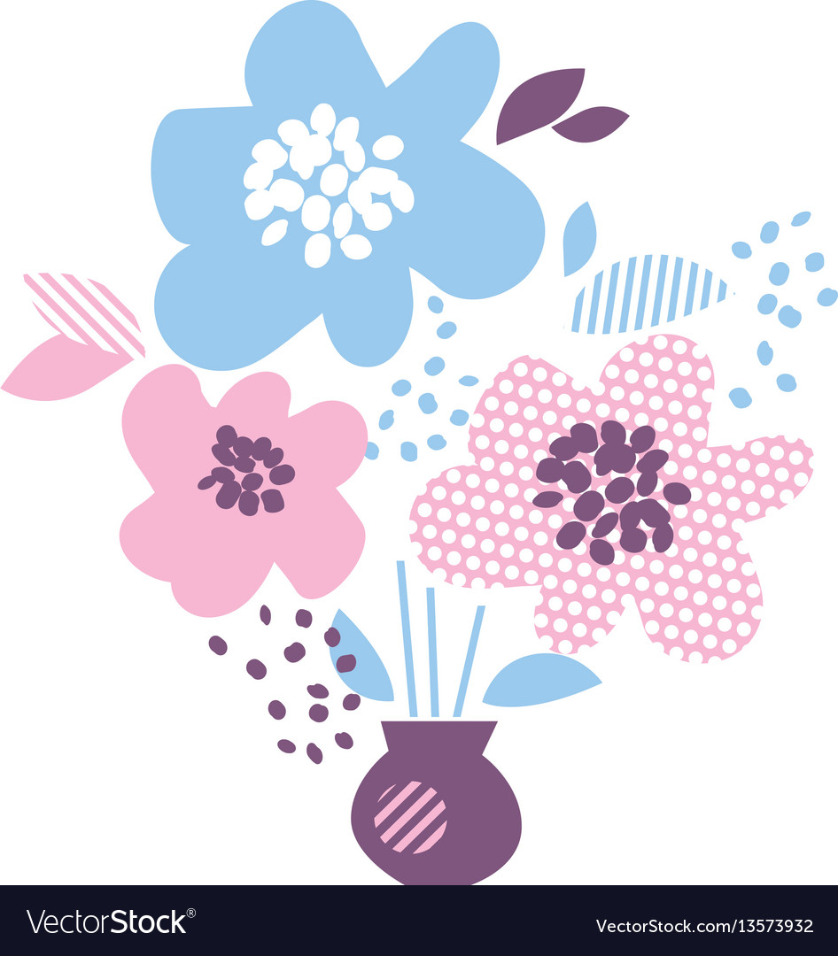 Blue and rosy color decorative floral element in