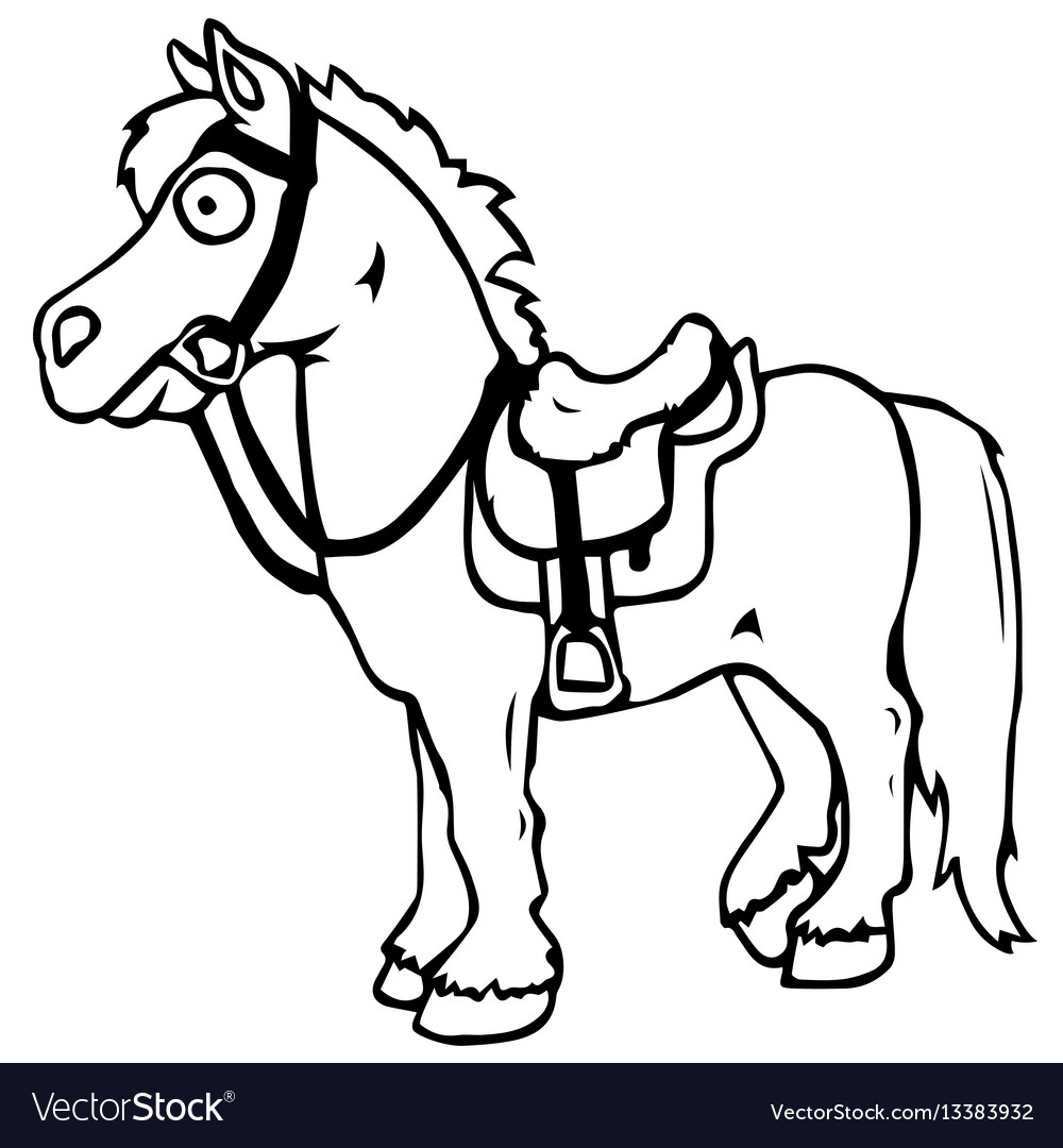 Cartoon farm animals cute horse smiles eps 10