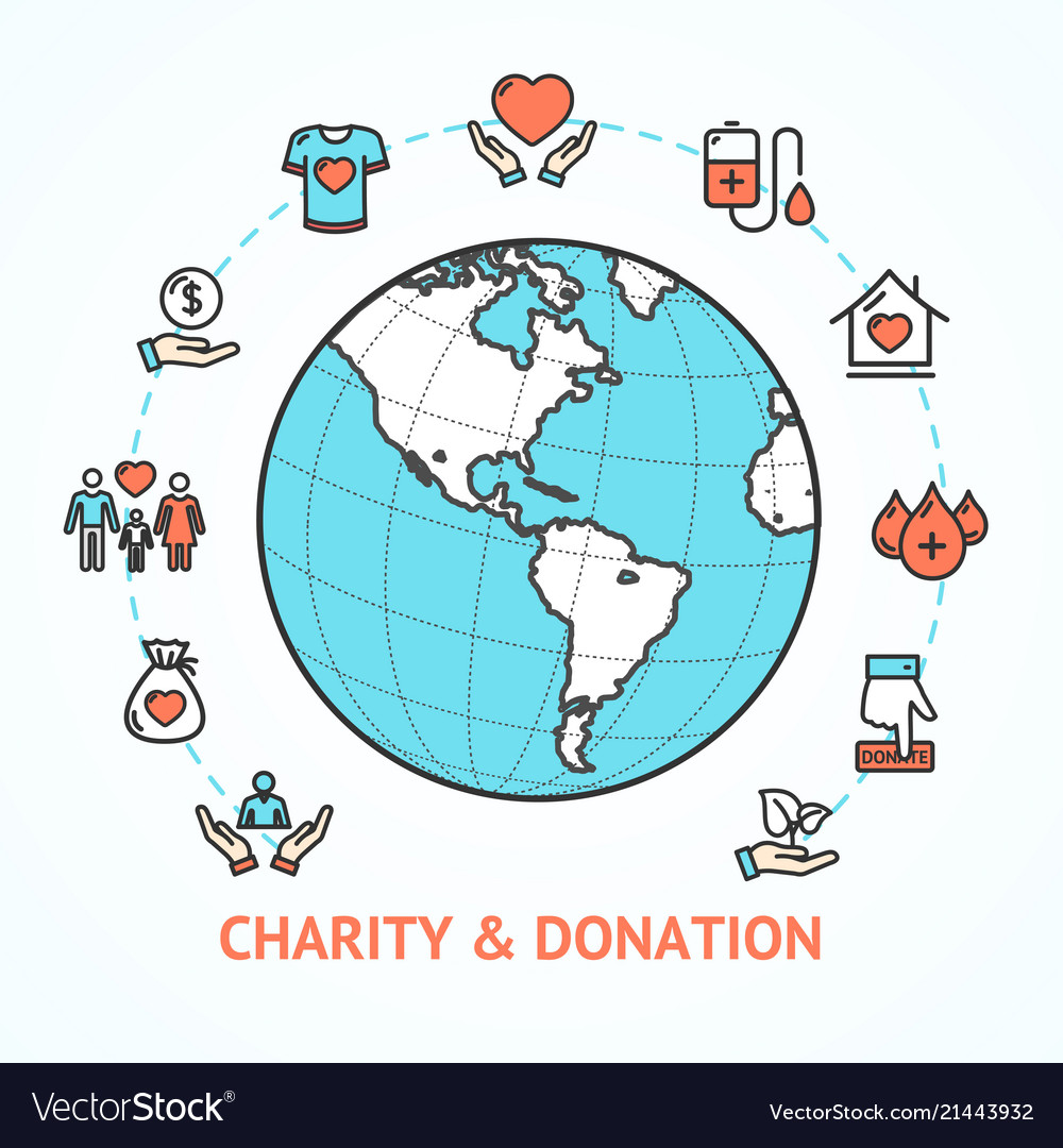 charity donation with map globe royalty free vector image