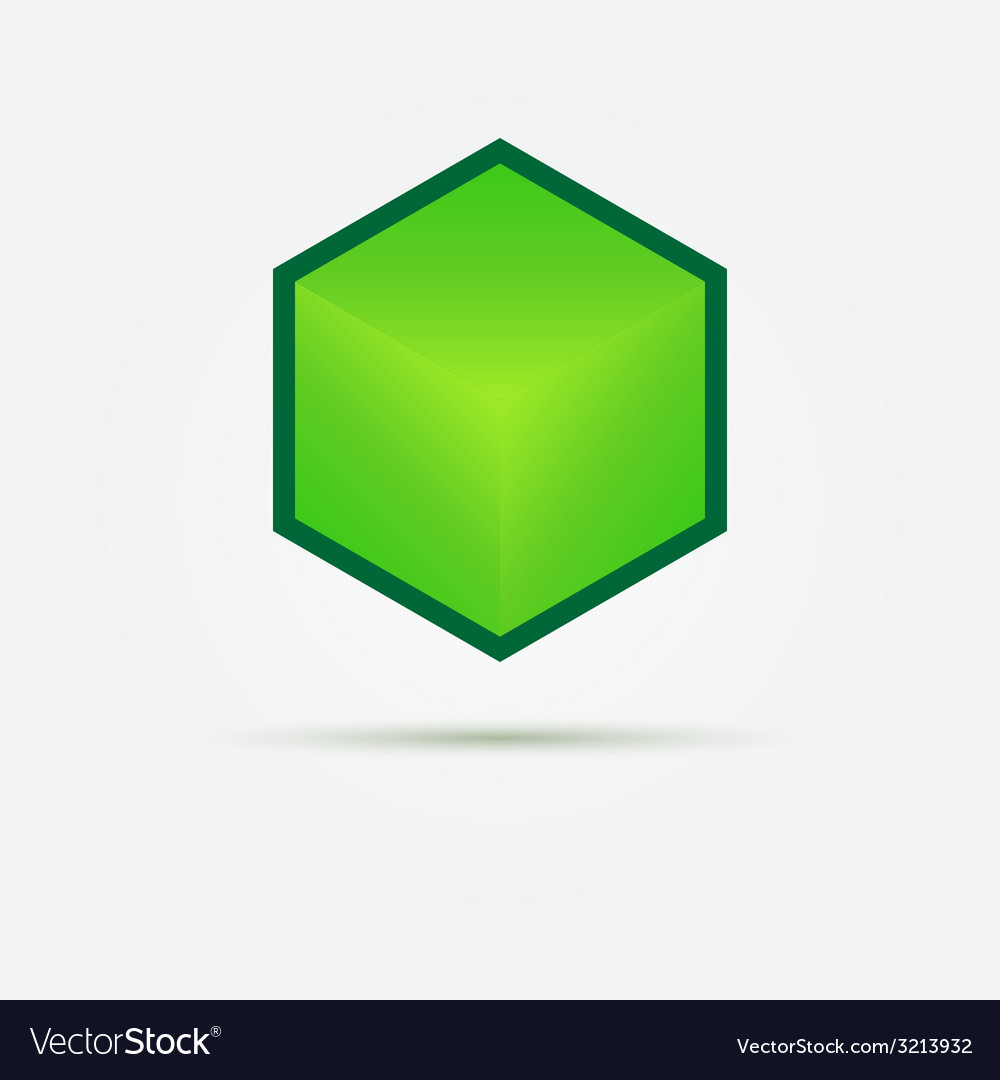 Isometric Green 3d cube Logo