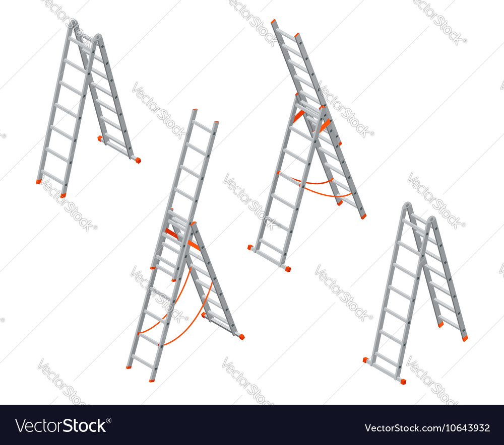 Isometric ladder Set of various ladders on the