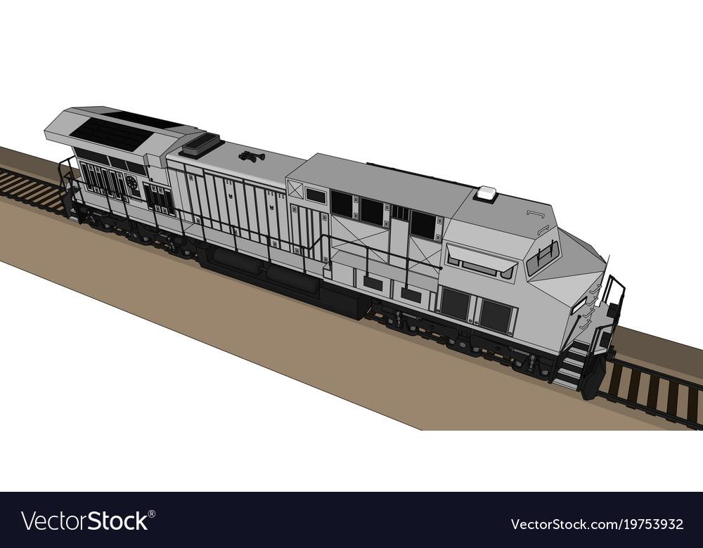 Modern diesel railway locomotive with great power vector image on  VectorStock