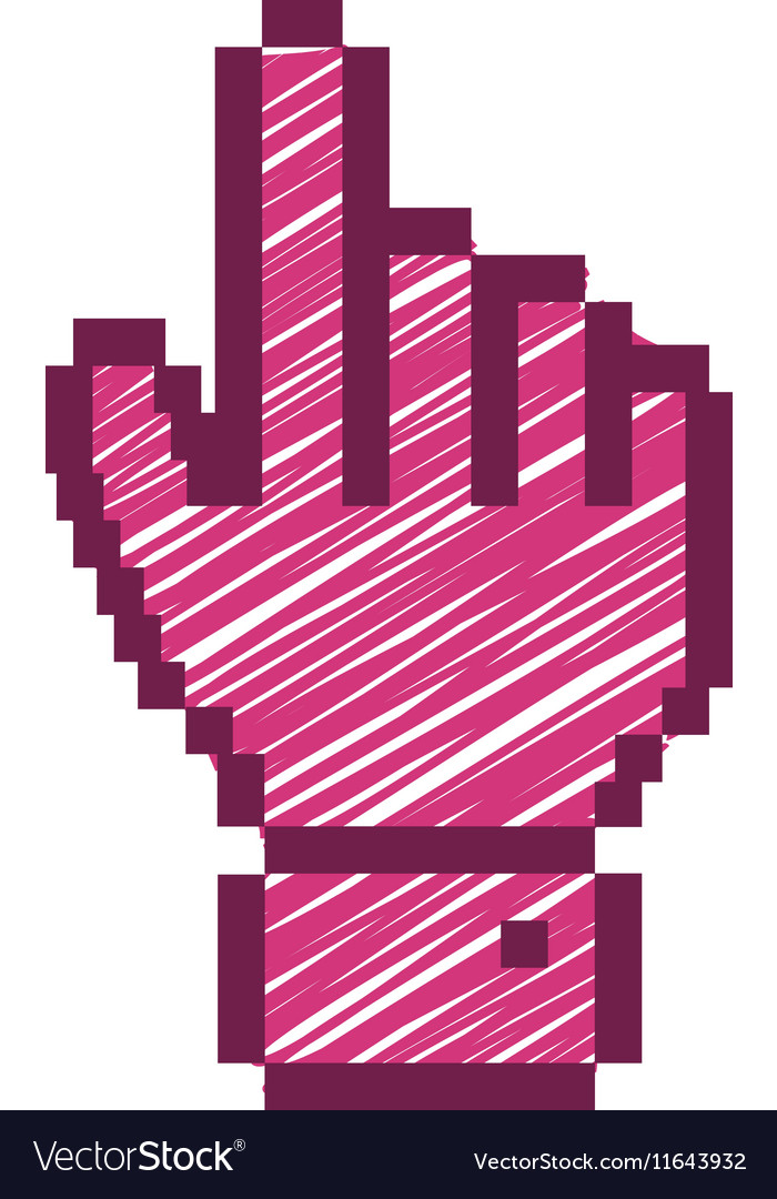 Pixelated hand pointing up with fushia striped