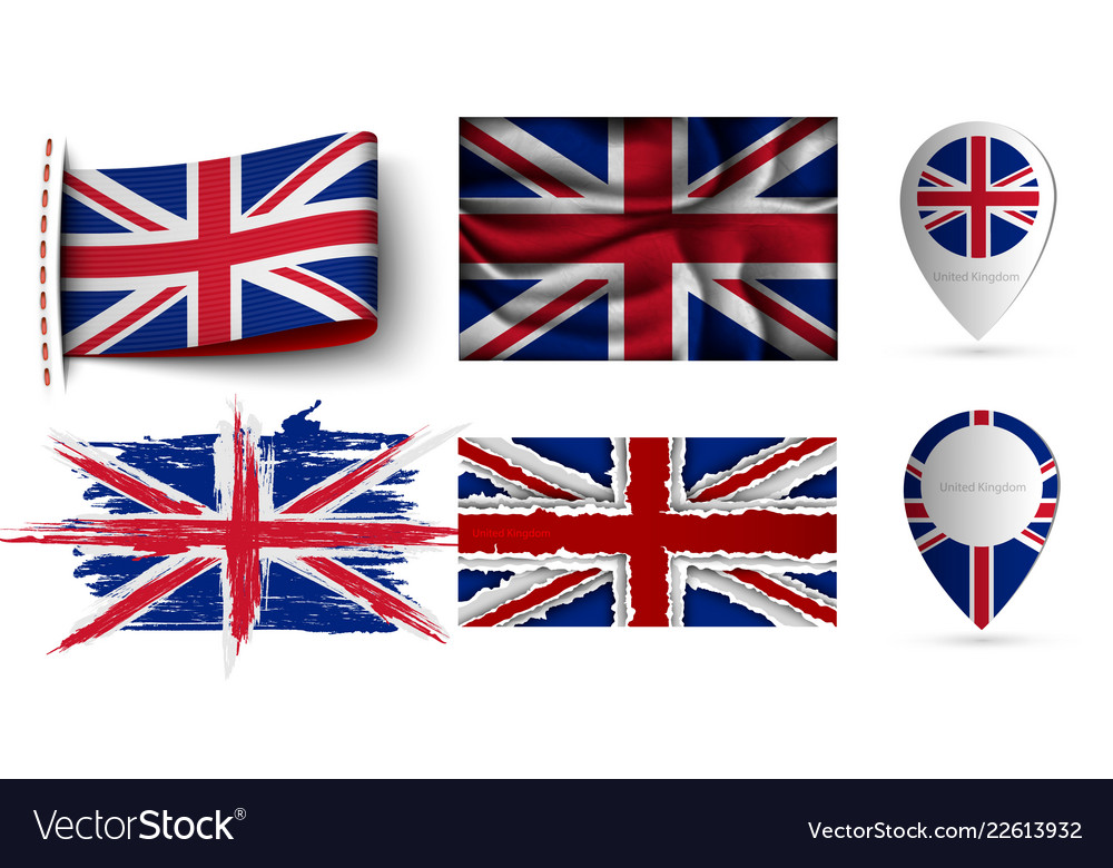 Set united kingdom flags collection isolated