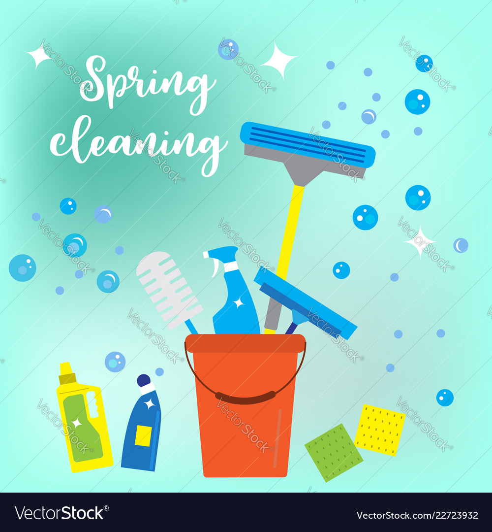 Spring cleaning concept flat style