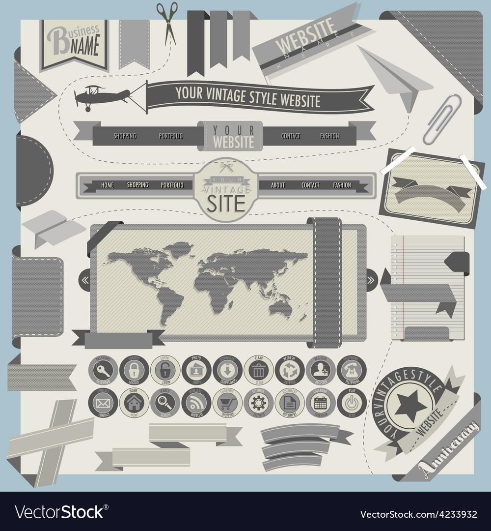 Website headers and navigation elements vector image