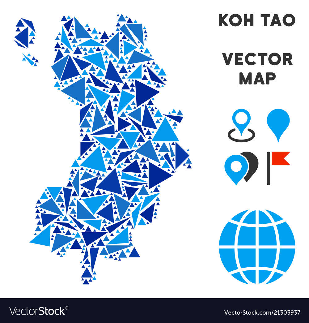 Blue Triangle Koh Tao Thai Island Map Royalty Free Vector