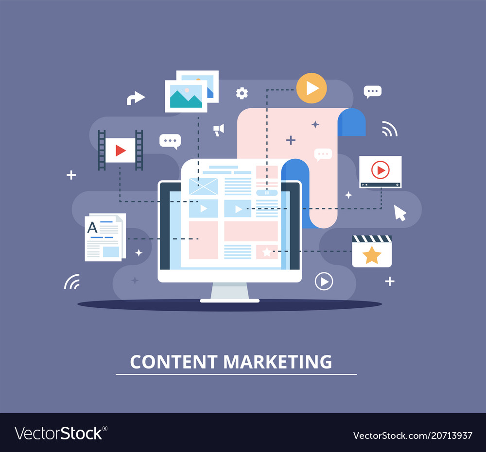 Content marketing blogging and smm concept in