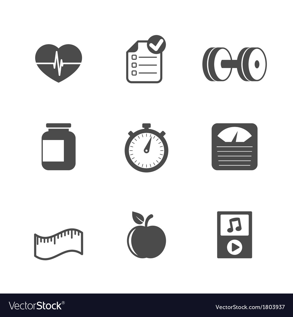 Fitness icons set contrast flat