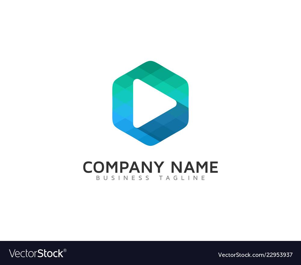Hexagon video logo icon design