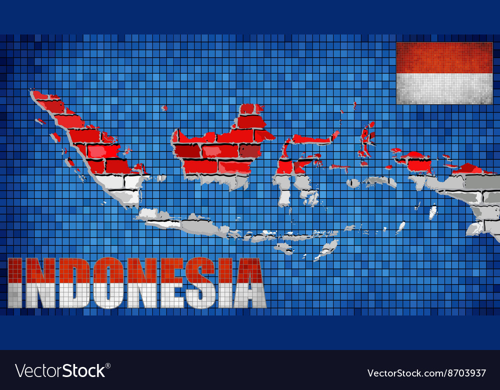 Indonesia map on a brick wall