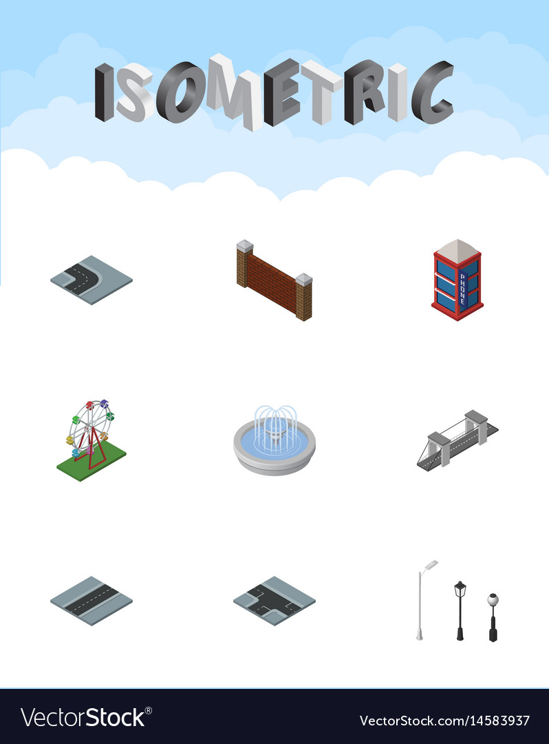 Isometric architecture set of path recreation vector image