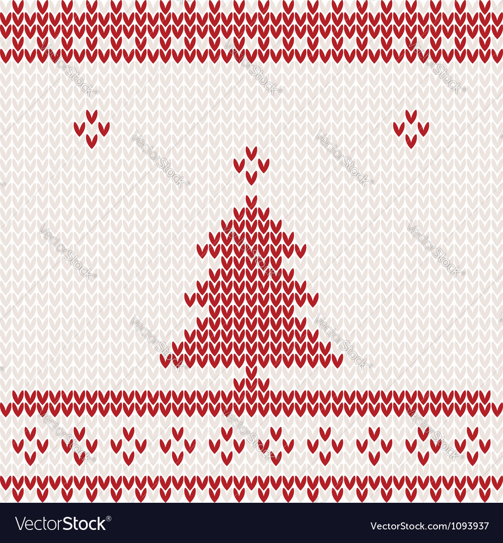 Knitted background with Christmas tree Royalty Free Vector