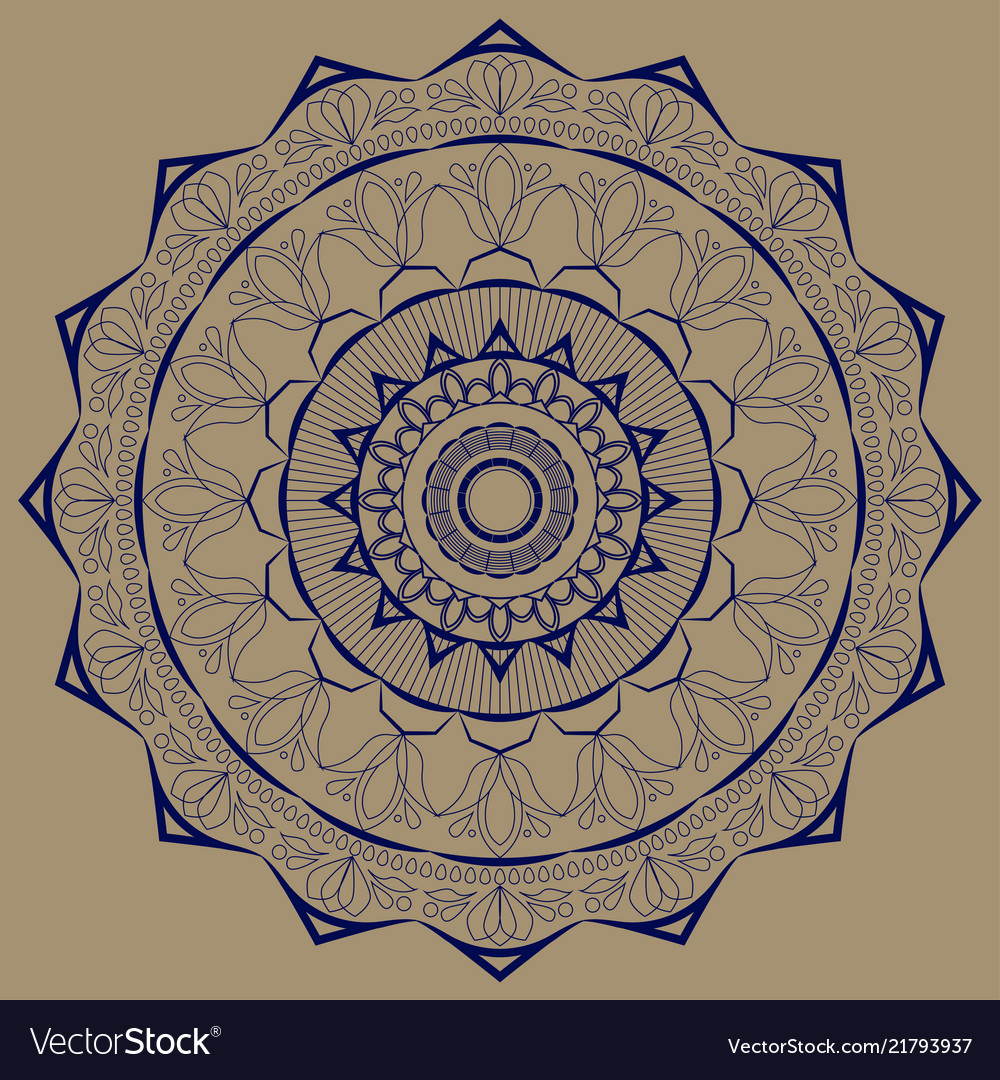 Mandala blue with plant motives on a brown