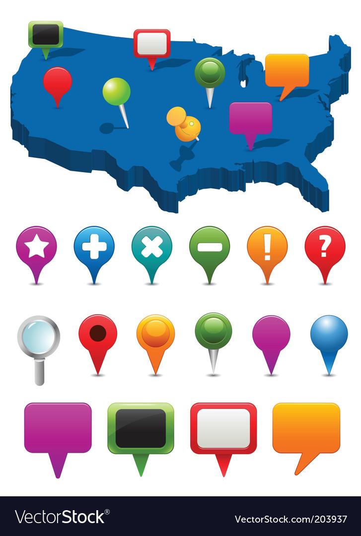 Navigation icons vector image
