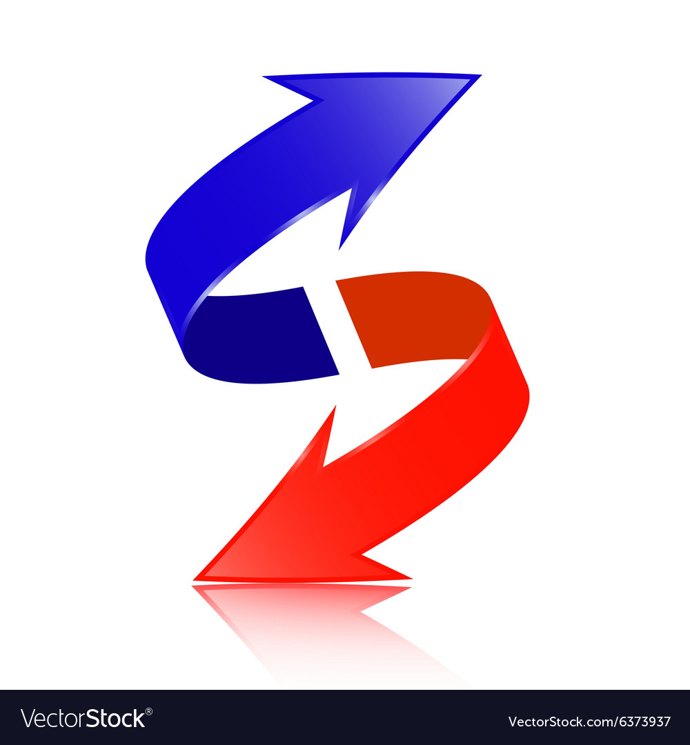 Red And Blue Double Arrow 3d Logotype Symbol Vector Image