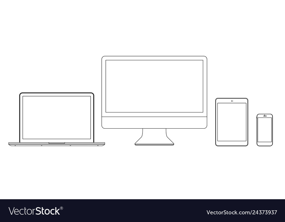 Set monitors laptop tablet and phone in lines