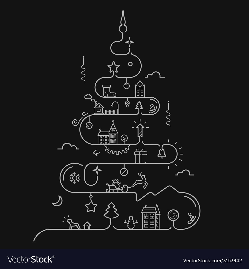 Abstract Christmas tree in line style