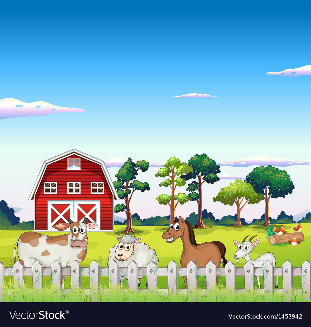 Animals inside the fence with a barnhouse at the vector image