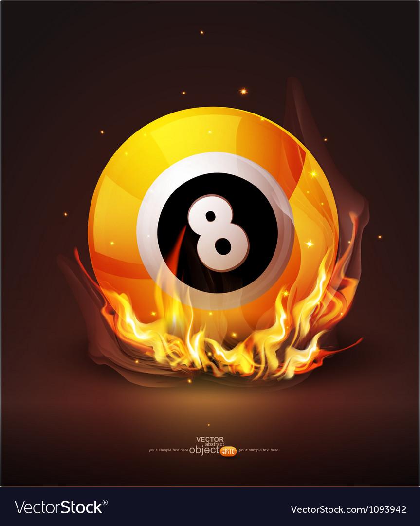 Burning billiard ball vector image