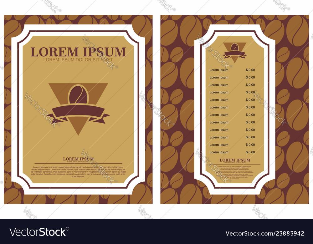 Coffee menu design brochure template coffee shop