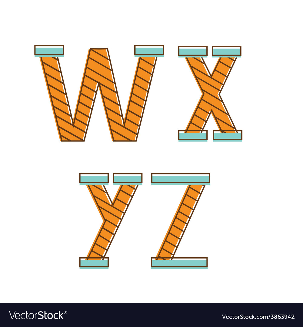 Colorful alphabet letters wxyz vector image