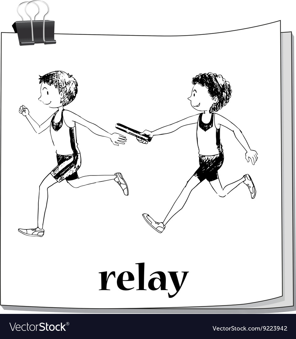 Doodle athletes running relay
