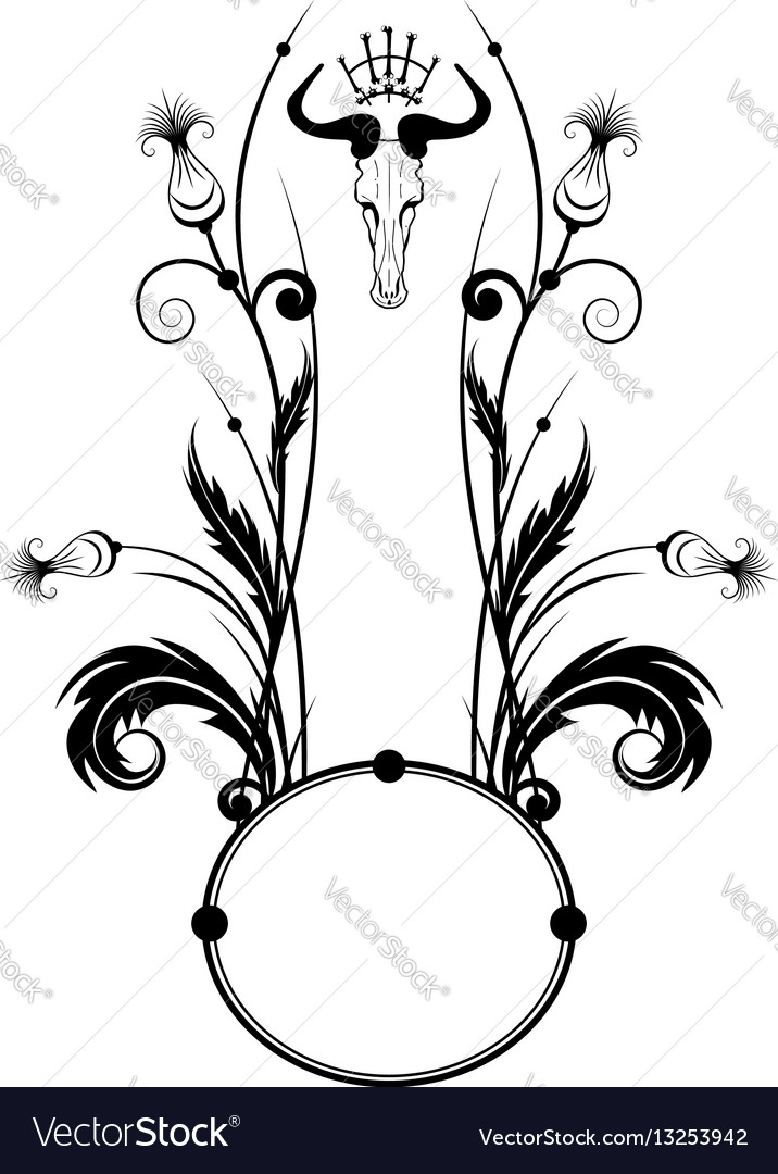 Frame with thistle and skull Royalty Free Vector Image