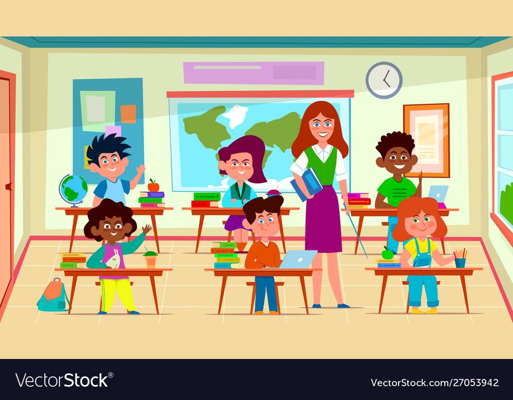 Kids and teacher in classroom school pedagogue